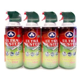 Ultra Duster Compressed Gas, 4 Pack of 10 oz. Cans
