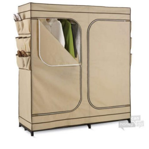"Honey-Can-Do 60"" Wide Wardrobe Closet w/ Shoe Organizer"