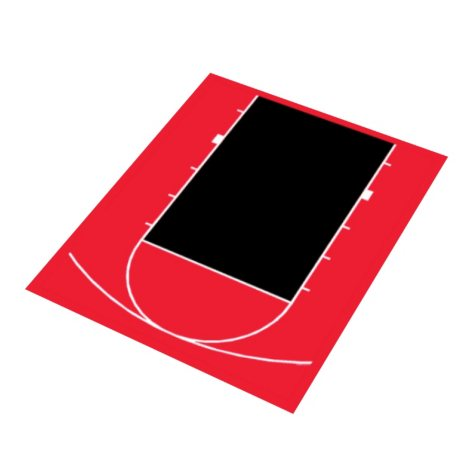Duraplay Basketball Half Court - Red and Black (Choose Your Size)