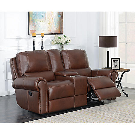 Member S Mark Harrison Dual Reclining Leather Console Loveseat With