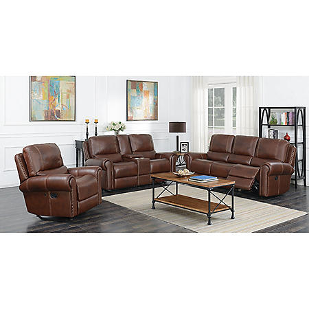 Member S Mark Harrison Reclining Leather Sofa Reclining Console