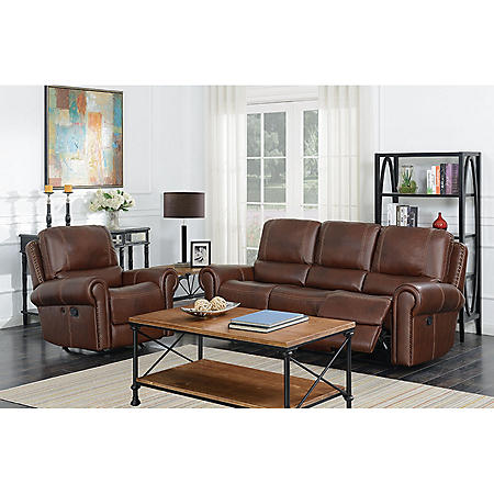 Member S Mark Harrison Reclining Leather Sofa And Rocker Recliner