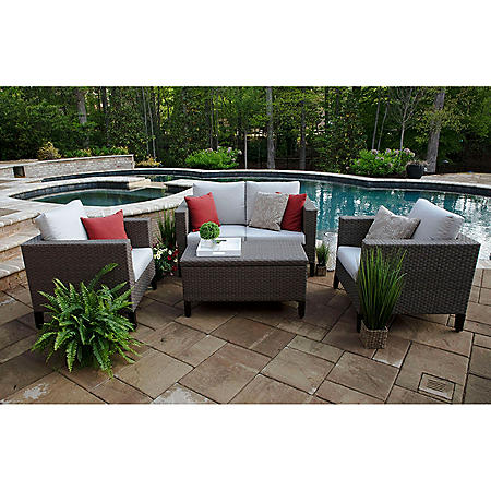 Laurel 4-Piece Deep Seating Set with Sunbrella Fabric
