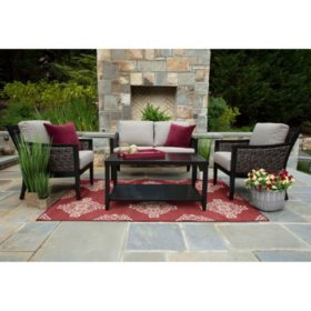 Hawthorn 4-Piece Deep Seating Set with Sunbrlla Fabric