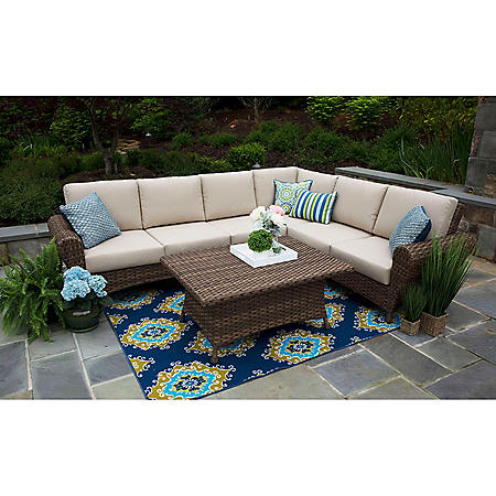 Aspen 5-Piece Sectional Set with Sunbrella Fabric