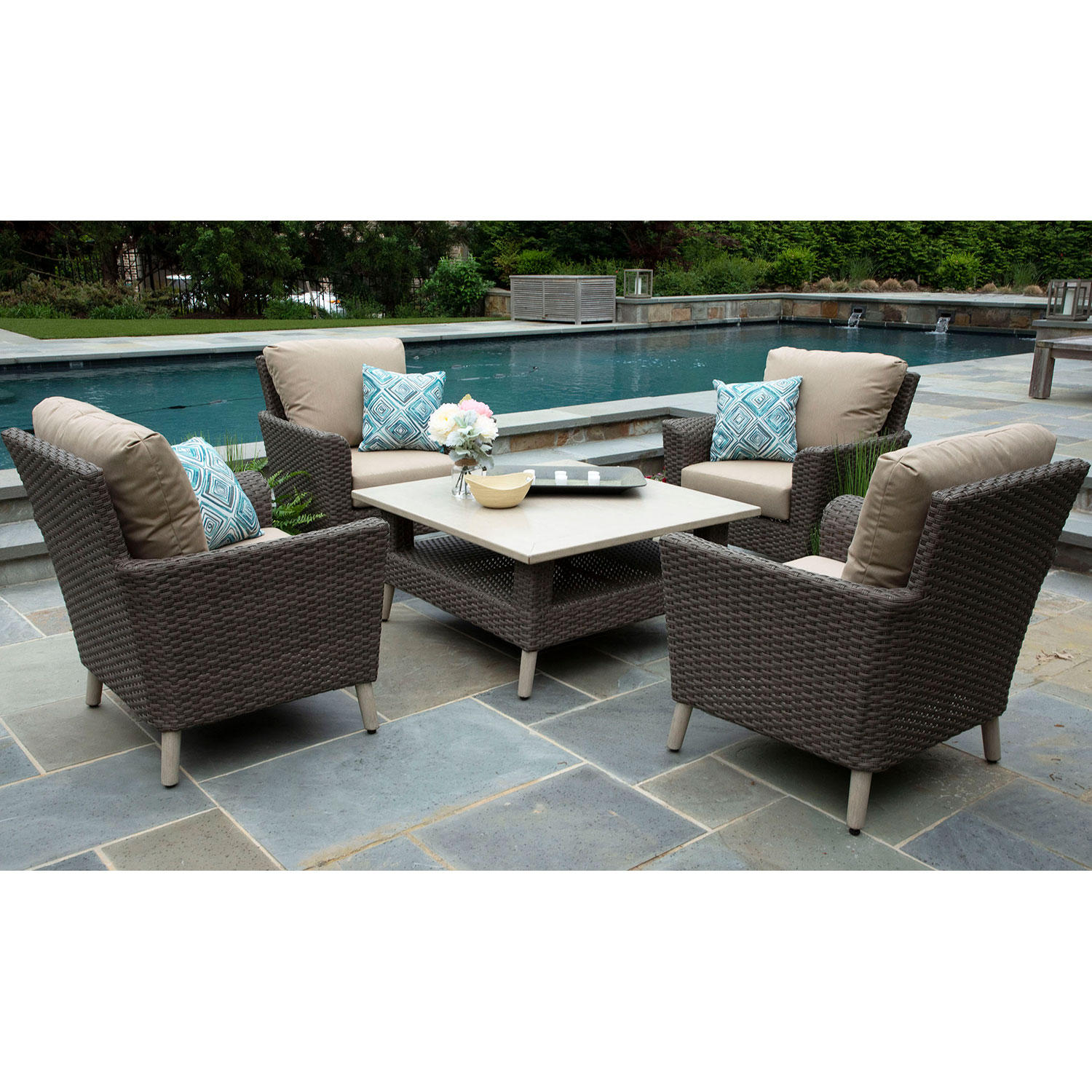 Noble 5-Piece Patio Deep Seating Sofa Set with Sunbrella Fabric