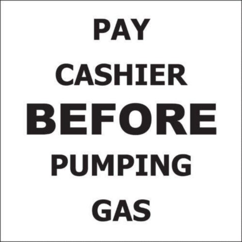 """T3 Pay Cashier Before Pumping Gas Decal, 6"""" x 6"""" (6 pk.)"""