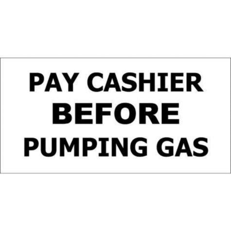 """T3 Pay Cashier Before Pumping Gas Decal, 12"""" x 6"""" (6 pk.)"""