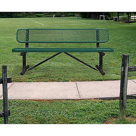 Leisure Craft 6' Expanded Metal Bench with Back (Assorted Colors)