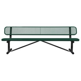 Leisure Craft 8' Expanded Metal Bench with Back (Assorted Colors)