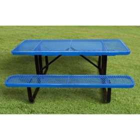 Leisure Craft 6' Rectangular Expanded Metal Picnic Table (Assorted Colors)