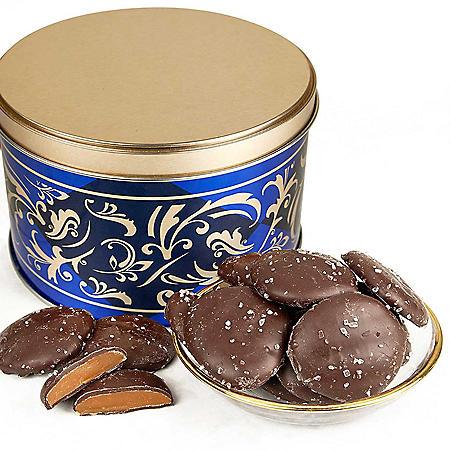 Dark Chocolate Caramel Caps with Sea Salt Gift Tin (26 oz.)