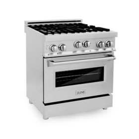"""ZLINE 30"""" 4.0 cu. ft. Range with Gas Stove and Gas Oven in Stainless Steel (RG30)"""