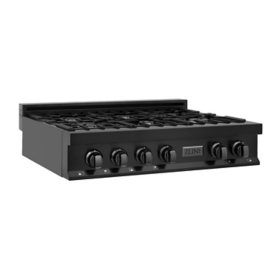 """ZLINE 36"""" Porcelain Rangetop in Black Stainless with 6 Gas Burners (RTB-36)"""