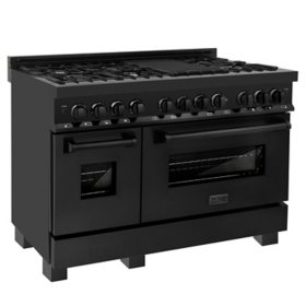 """ZLINE 48"""" 6.0 cu. ft. Dual Fuel Range with Gas Stove and Electric Oven in Black Stainless Steel (RAB-48)"""