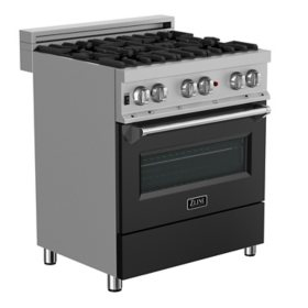 """ZLINE 30"""" 4.0 cu. ft. Dual Fuel Range with Gas Stove and Electric Oven in DuraSnow® Stainless Steel and White Matte Door (RAS-WM-30)"""