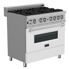 """ZLINE 36"""" 4.6 cu. ft. Dual Fuel Range with Gas Stove and Electric Oven in DuraSnow® Stainless Steel and White Matte Door (RAS-WM-36)"""