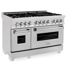 """ZLINE 48"""" 6.0 cu. ft. Dual Fuel Range with Gas Stove and Electric Oven in DuraSnow® Stainless Steel (RAS-SN-48)"""