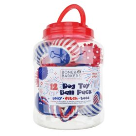 Bone & Barkers Dog Toy Variety Pack, Patriotic Colors (12 pc.)
