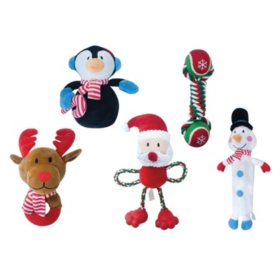 Bone & Barkers Holiday Dog Toys, Small to Medium (5 pk.)