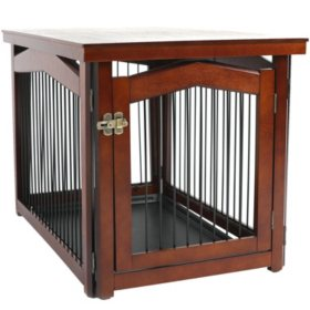 Zoovilla 2-in-1 Configurable Pet Crate and Gate, Mahogany