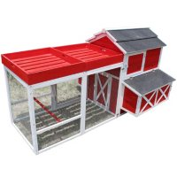 Zoovilla Red Barn Chicken Coop with Roof Top Planter