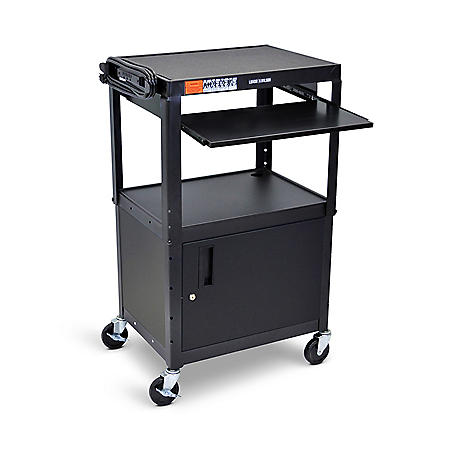 Adjustable Steel AV Cart with Cabinet