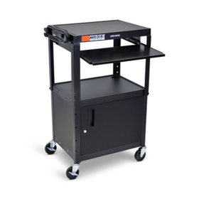 Adjustable Steel AV Cart with Cabinet