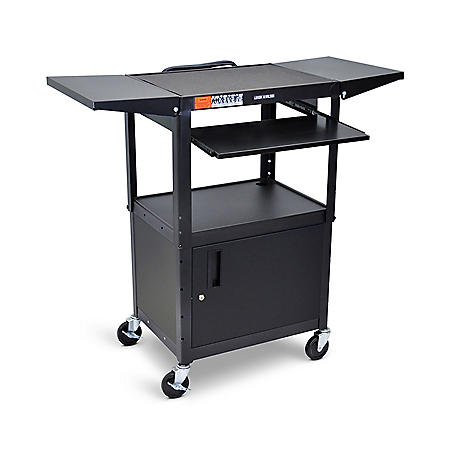 Adjustable Steel AV Cart with Pullout Keyboard Tray and Cabinet