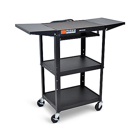 Adjustable-Height Steel AV Cart with Pullout Keyboard Tray