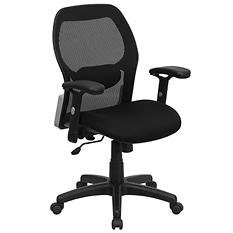 Flash Furniture Mid-Back Super Mesh Office Chair with Fabric Seat - Black