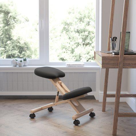 Wooden Ergonomic Kneeling Posture Chair- Black