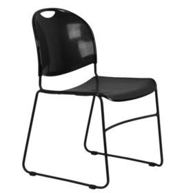 Flash Furniture Plastic Stack Chair With Sled Frame, Black