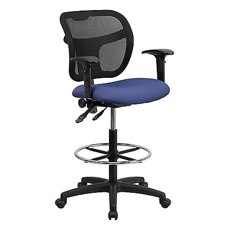 Flash Furniture Mesh Drafting Stool with Arms, Navy Blue Fabric