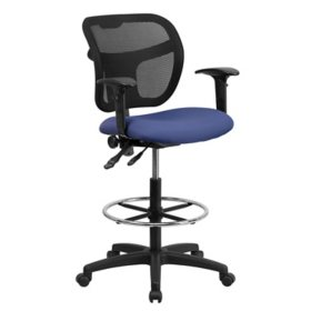 Flash Furniture Navy Blue Fabric and Mesh Drafting Stool w/ Arms