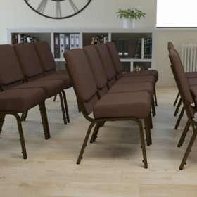 Hercules Extra Wide Stacking Church Chair with Gold Vein Frame, Brown