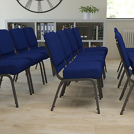 Hercules Extra Wide Stacking Church Chair with Silver Vein Frame, Navy
