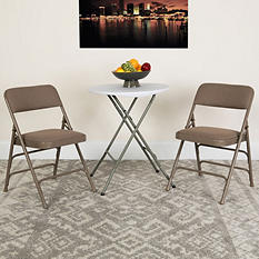 Hercules Fabric Metal Folding Chairs, Beige