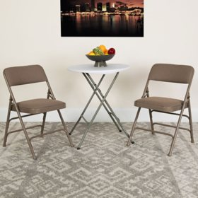 Hercules Fabric Metal Folding Chairs Beige