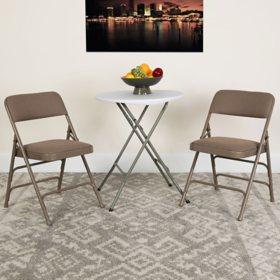 Hercules Fabric Metal Folding Chairs, Beige