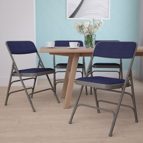 "Hercules 1"" Padded Metal Folding Chairs, Navy"