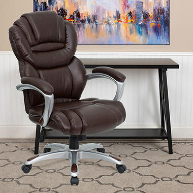 Flash Furniture High-Back Leather Executive Office Chair ...