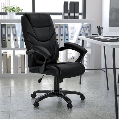 flash furniture highback leather executive office chair black