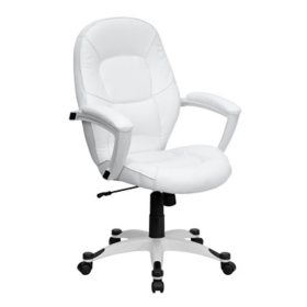 Flash Furniture Mid-Back Leather Executive Office Chair, White