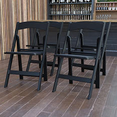 Hercules Resin Folding Chair, Black