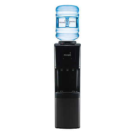 Primo Deluxe Top Loading Hot/Cold Water Dispenser with Leak Guard, Black/Black Stainless