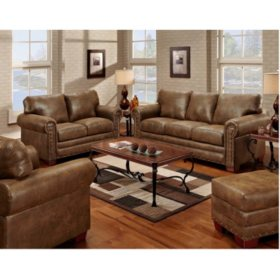 Buckskin Nailhead Living Room 4-Piece Set
