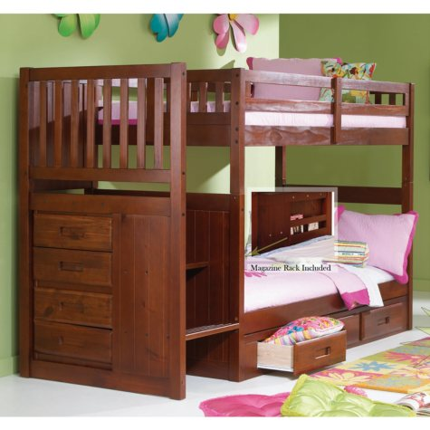 Staircase Bunk Bed, Merlot Finish