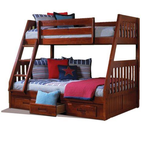 Twin/Full Bunk Bed - Merlot