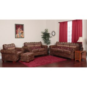 Sierra Lodge Sleeper Sofa, Loveseat, Chair and Ottoman, 4-Piece Set